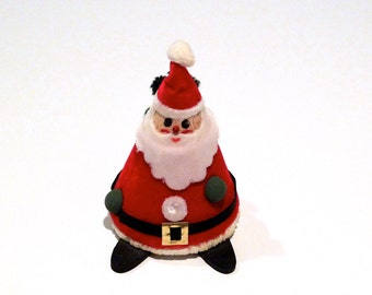 Santa Clause Figure Vintage Santa Red Velvet Suit Christmas Figurine Cone Shaped Knapsack Sack of Toys Pointed Triangle