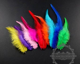 50pcs 8-15mm green,blue,red,pink,yellow,purple,orange bird feather DIY jewelry supplies findings 1506017