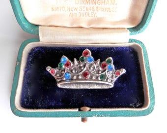 Vintage 1950s 1960s Royal Crown Brooch, Antique Retro Jewellery