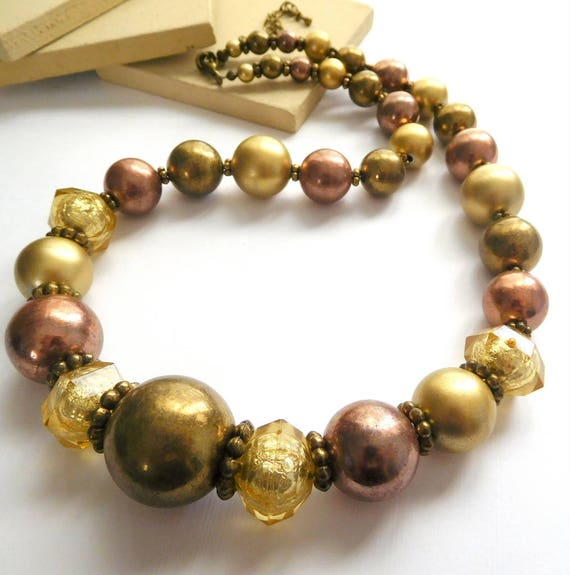 Vintage Chunky Aged Distressed Mixed Metal Gold Copper Brass Bead Necklace K11
