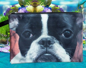 Boston Terrier pouch, boston terrier purse, boston terrier clutch, boston terrier lover pouch, boston terrier makeup bag, PD-218