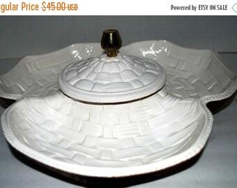 on sale Vintage serving set  chip and dip condiment set basket weave  ceramic serving tray