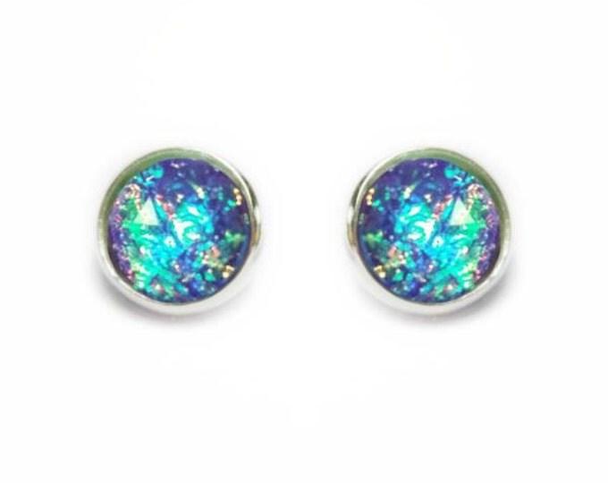 Purple Opal Post Earrings, Rainbow Mardi Gras Color Changing, Faceted Earring, Faux Fire Opal Post Earrings, Stainless Steel Studs, 12 mm,