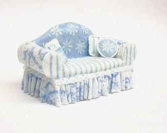 "1/4"" Scale Soft Blue Sofa"