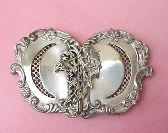 Beautiful Victorian 2 Part Rococo Style Silver Sash Buckle
