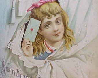 Lovely Larger Victorian Era Christmas Scrap-Little Girl with Letter