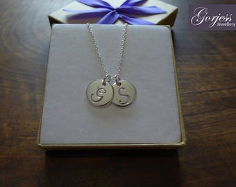 Two Silver Initial Charms Pendant Necklaces