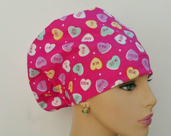 Mini - Chemo Cap - Nurses Hat - European Style - Kiss me, Love me And Don't Forget to Hug Me! - 100% cotton