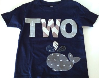 Second Birthday Shirt Nautical Whale First Birthday Boys Shirt two gift photo prop funny Aqua navy gray