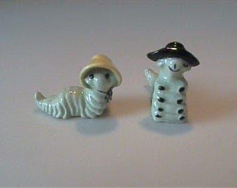 Vintage 1950's Hagen Renaker miniature Ma and Pa caterpillars