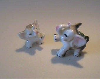 Two vintage 1960's miniature bone china mama and baby elephant - Mikasa Japan