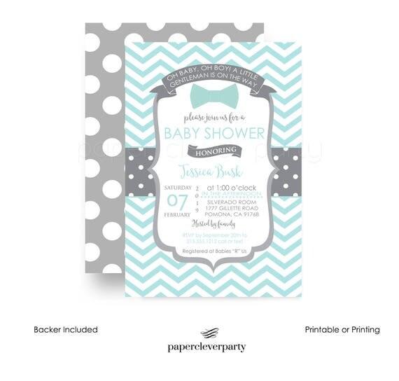 sharp bow tie baby shower invitation boys -- mint & grey -- little, Baby shower invitations