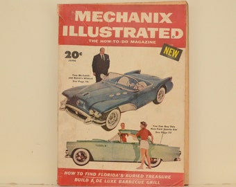 Mechanix Illustrated Magazine, June 1954 - Great Condition, Tips,  Science, Technology, Hundreds of Vintage Ads, Frank Tinsley Pulp Art