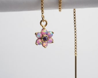Purple Opal Gems flower Ear Chain / Gold Threader Earrings/Chain Earrings - Single (Limited number of items)