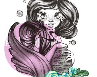Princess, Blue Green Flowers 5x7 Print-at-Home Art