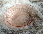 Pretty Pink Depression Glass Oval Bowl with Pressed Glass Detail