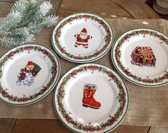 Set of 4 Salad Plates by Traditions Holiday Celebrations By Christopher Radko 4 Different Christmas Patterns