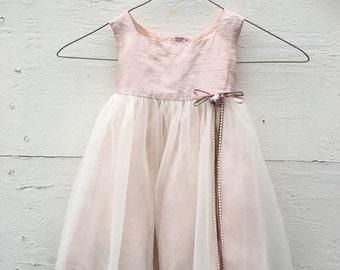 Vintage pink shabby dress for little girls, pastel pink dress for little girls , pink dress for girls, pink Easter dress( 12 months)