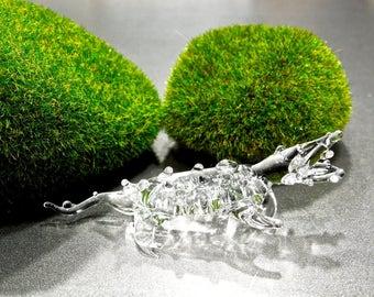 SUPPLY: Handcrafted lamp-work Clear Glass Crocodile Alligator Pendant - Ornament - Light Catcher - SKU 00007882