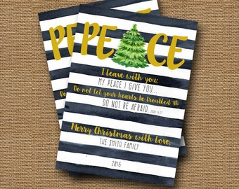 Peace Christmas Card   Watercolor Christmas Card   DIY PRINTABLE   Printable Christian, Scripture, Bible Verse Card   John 14:27 Peace Card