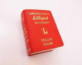 1960s Rare Vintage Lilliput English to Italian Langenscheidt Mini Dictionary Small Red Book