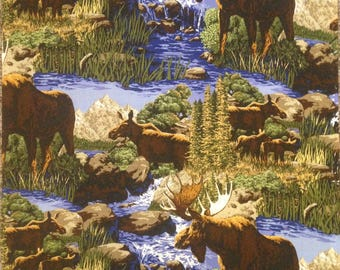 Moose, Alaska wildlife fabric, Alaska moose quilt fabric, by the yard