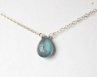 AAA Blue Moss Aquamarine Pendant Necklace in 14k Gold Filled