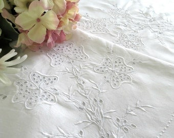 Vintage Linen Tablecloth with Madeira Embroidery White on White Needlework 86 in x 68 in