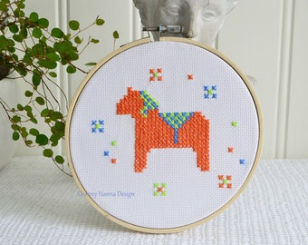 """Orange Dala horse embroidery, handmade Swedish, 8 """" hoop art, cross stitched horse, needlepoint"""