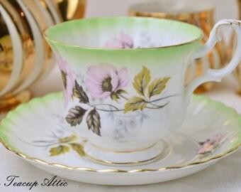 Royal Albert Green Floral Teacup and Saucer Set, English Bone China Tea Cup Set, Replacement China, Tea Party,  ca. 1960