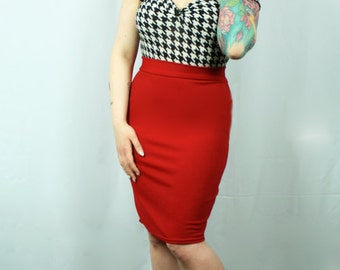 Cherry Red Pinup Wiggle Skirt