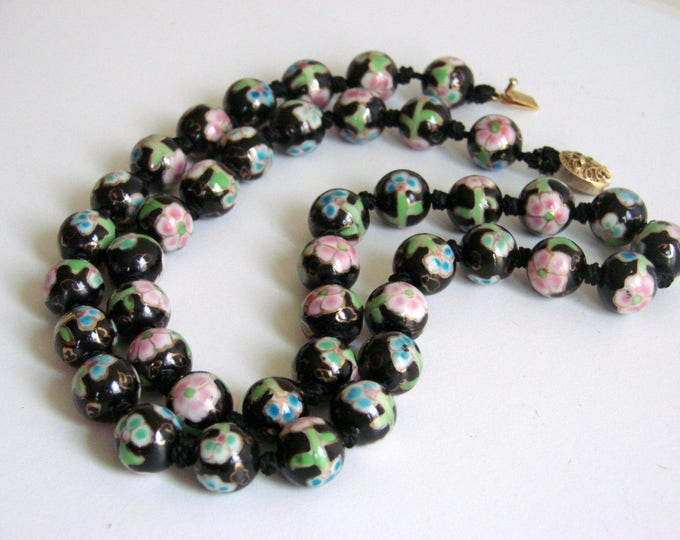 Mid Century Cloisonne Chinese Export Black Floral Bead Necklace Hand Knotted Filigree Clasp Vintage Jewelry Jewellery