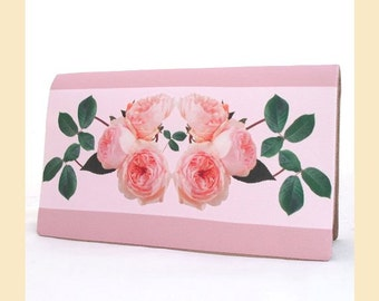 wedding clutch bag with pink roses and green leaves floral print, handmade bridal purse with optional personalisation