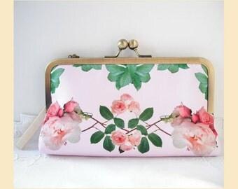 Wedding clutch bag, wristlet, pink purse, bridal purse, bridesmaid clutch, pink handbag, roses print, personalisation