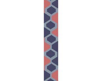 Retro Geometric Peyote Bead Pattern, Bracelet Pattern, Bookmark Pattern, Seed Beading Pattern, Delica Size 11 Beads - PDF Instant Download
