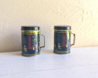 Pair of Vintage Asian Salt and Pepper Shakers Metal with Handles