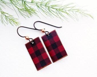 Buffalo Check Earrings, Red Mixed Media Earrings, Mixed Media Jewelry, Christmas, Holiday Beaded Jewelry, Red Earrings, Black Earrings