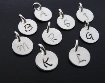Personalized initial charm Sterling silver charm Hand stamped initial charm Initial Jewelry charm