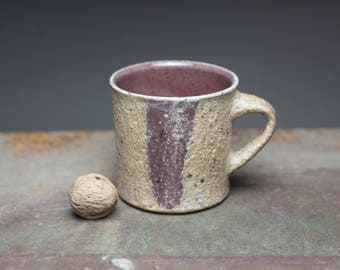 Wood fired mug , Wheel thrown stoneware pottery cup with rustic surface