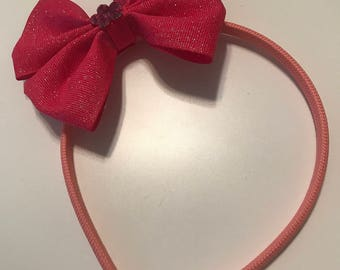 Light Pink Headband with Hot Pink Glitter Bow, Girls/Toddlers