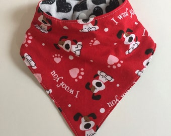 Valentine's Day Boy or Girl Baby Bandana Drool Bib Dribble Bib with Dogs Hearts Red Black