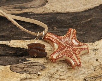 SALE-SALE Rust Starfish Terracotta Essential Oil Diffuser Necklace with Sea Glass Stacker   711