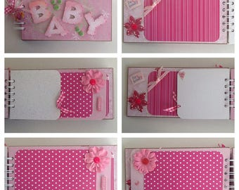 It's A Girl Baby Girl Birth Shower Original Design Pre Made Chipboard Scrapbook Album * Just Add Photos *