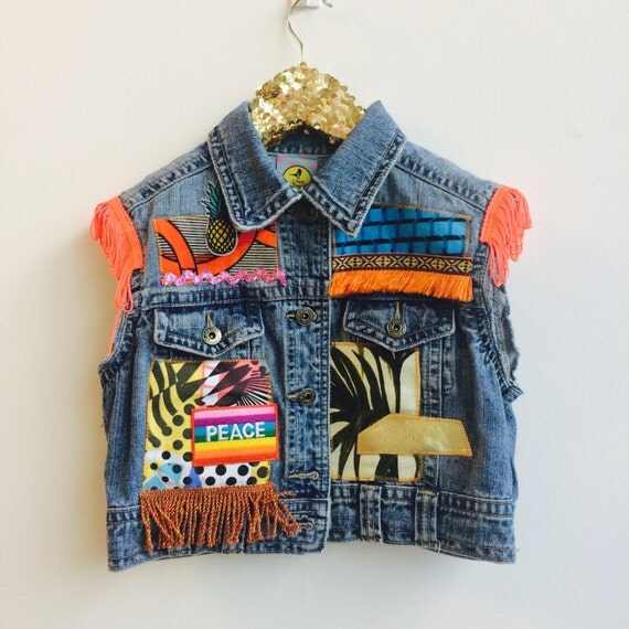 DIVE 5-6 Years Denim Jacket Upcycled with Fringe Patch and Pom Pom Trim