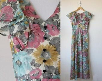 1970s Vintage Sweetheart Nancy B Maxi Dress Size XS S