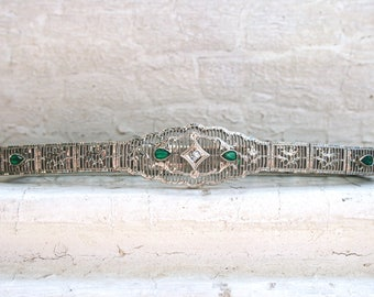 Beautiful Vintage Filigree 10K White Gold Diamond and Colored Glass Bracelet by Esemco.