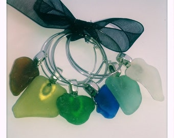 6x Handmade Cornish Sea Glass Wine Charms - Wedding Birthday Gift Xmas