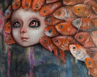 "Original Small Painting ""Fish"" Girl Goldfish"