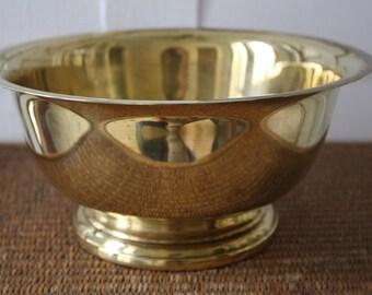large brass bowl, footed brass bowl, Revere style brass bowl, brass bowl by Pool, Continental Collection, Hollywood Regency