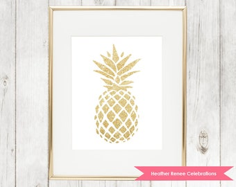 Gold Pineapple Nursery Print | Home Decor Wall Art | Pineapple Themed Decor Instant Download